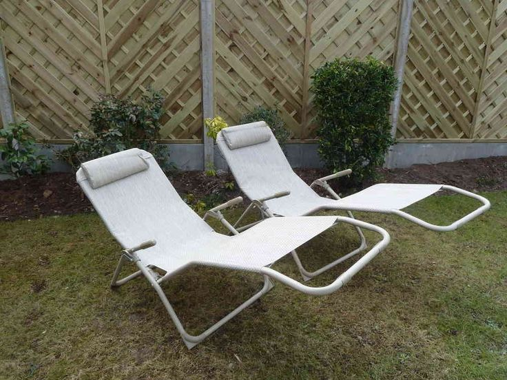 Set of 2 Garden Sun Lounger Chairs Beige Garden Recliner Relaxer Chair Steel Weatherproof Textoline - & Best 25+ Garden recliner chairs ideas on Pinterest | Garden ... islam-shia.org