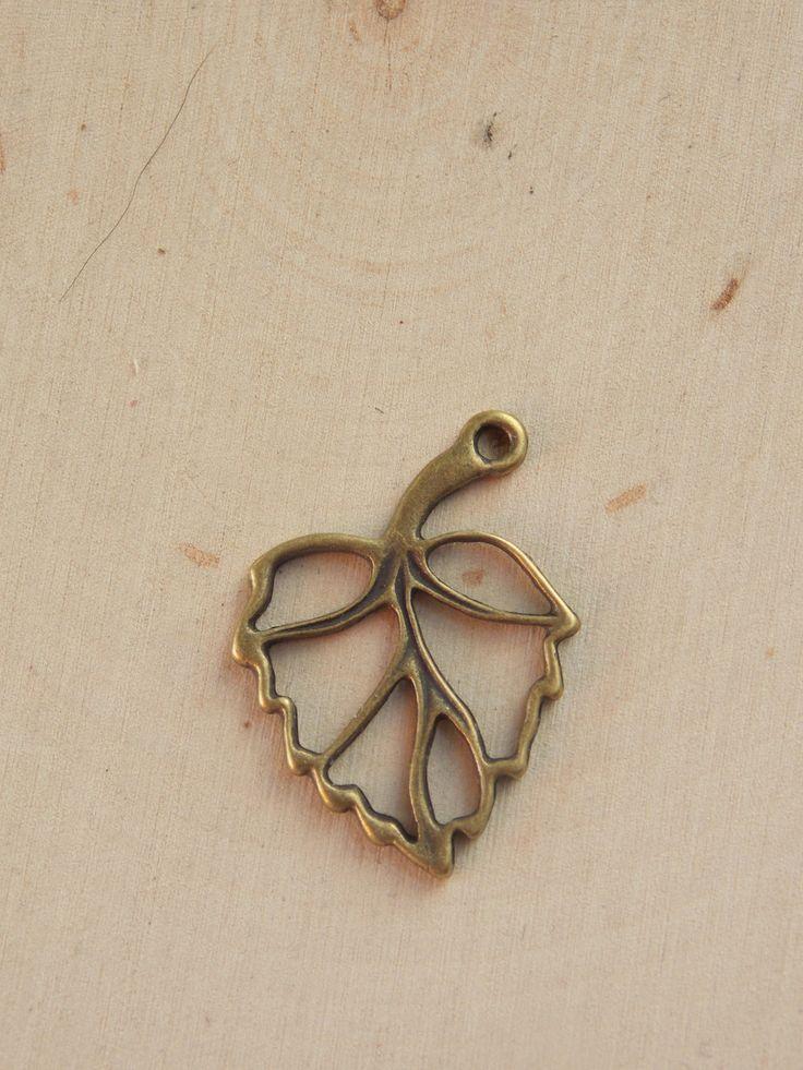 Leaf Charm / Leaf Pendant  / Gold Leaf / Gold Leaf Charm / Leaf Charm / Gold Leaf Pendant / Base Metal Leaf / Jewelry Supplies / Beading by Loft12Studios on Etsy