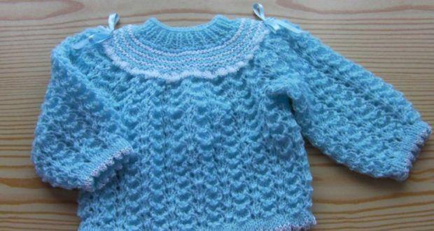 Mavi örgü bebek kazak - Örgü Modelleri