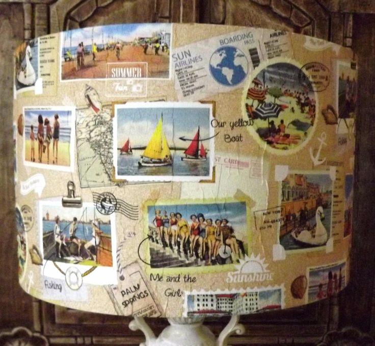 Shabby Chic Lamp Shade, Holiday Snaps, Vintage Camera,Nautical seaside, holidays, family ,Travel light shade Fatta da Mamma FREE GIFT by Fattadamamma on Etsy