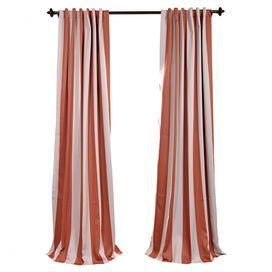 Add eye-catching style to any room with this chic curtain, showcasing a stripe motif in ecru and orange.   Product: CurtainConstruction Material: PolyesterColor: Ecru and orangeFeatures:  Pole pocket with back tabsWeighted corner hems Note: Image depicts two curtain panels, but price is for oneCleaning and Care: Dry clean only