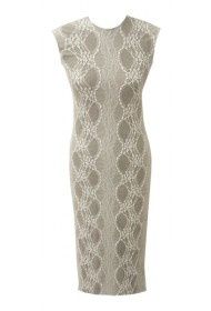 White Lace and Taupe Dress