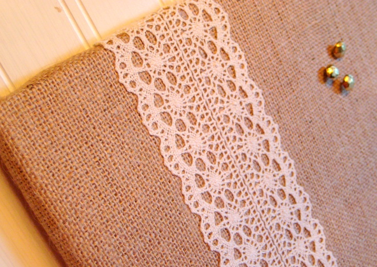 Burlap and Lace Wedding Bulletin Board $32.00