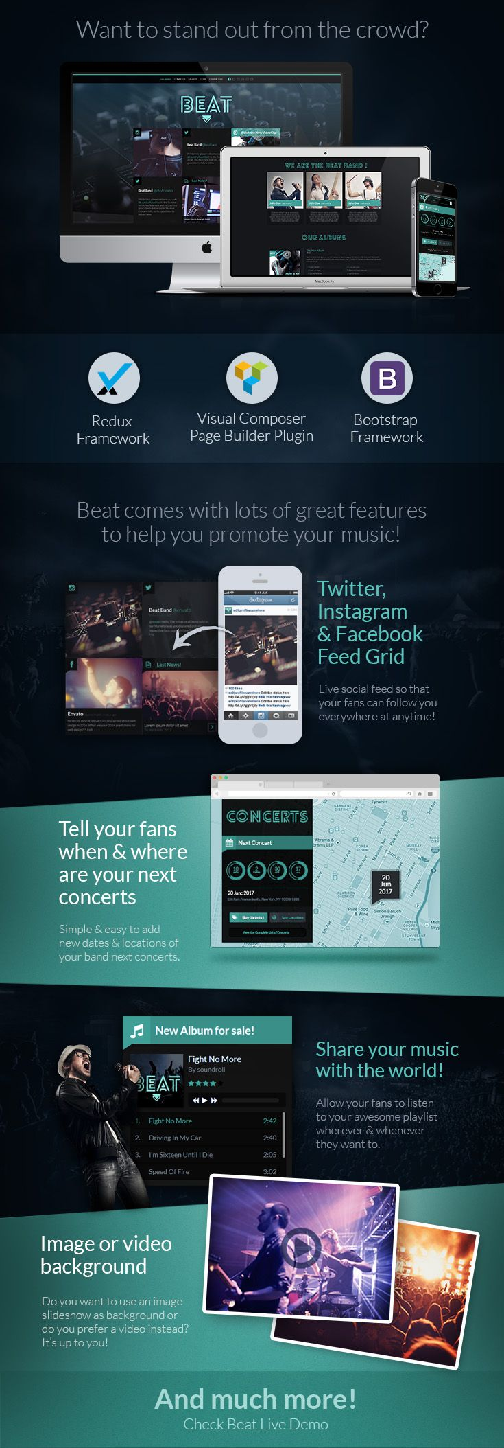 Beat - One-Page Music & Band AJAX WordPress Theme by WiselyThemes | Beat is a unique one-page WordPress Theme, especially designed and developed for bands, music events and any kind of performers linked do the music and dance industry such as DJ's, singers, musicians and dance groups.
