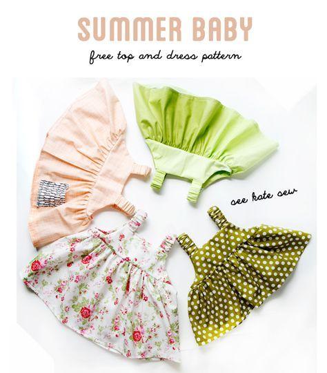 無料型紙 簡単でかわいい赤ちゃん用ワンピースの作り方 | 無料ハンドメイド型紙まとめ