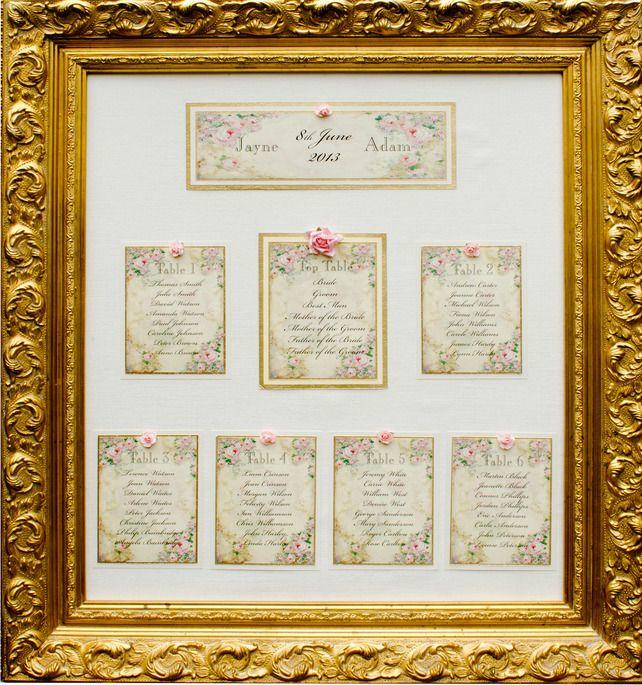 Vintage Wedding Table Plan in Ornate Gold Frame (Ref 129) Romantic Roses £100.00