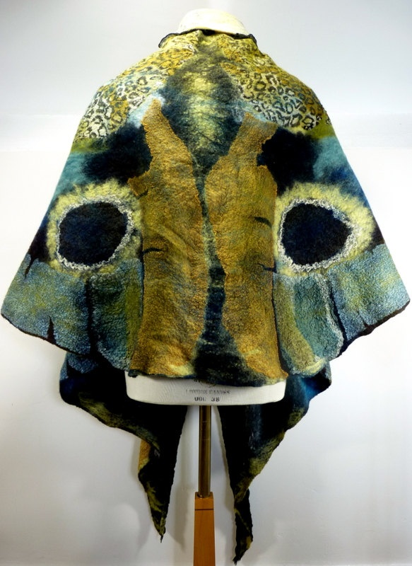 Hand Made to Order: Metamorphosis hand felted reversible nuno felt wrap / cape