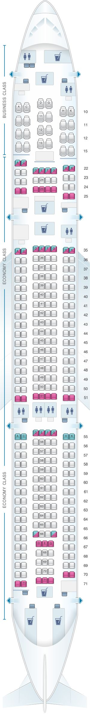 Seat Map Cathay Dragon Airbus A330 300 (A33H)