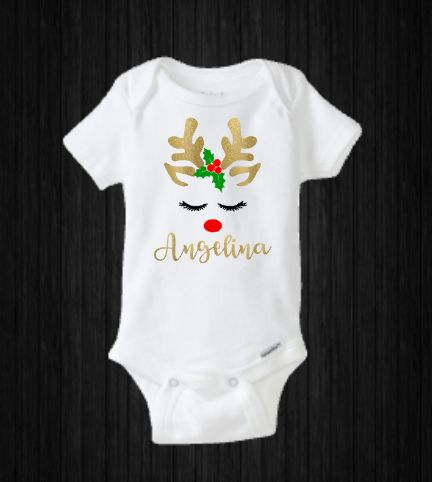 Cute Reindeer Christmas Onesie, Baby Girl Shirt, Rudolph, Santa Claus, Personalized, Baby Shower Gift, My First, Baby's First Holiday #reindeer #rudolph #merrychristmas #christmas #babygirl #baby #girl #onesie #holiday #babyshower