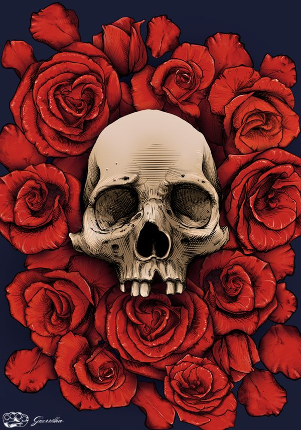 Skull and Roses by Rodrigo Lima