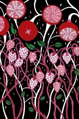 petra borner (swedish artist, illustrator and designer).cut paper collage called pomegranate tree. #pomegranates #fruit #red