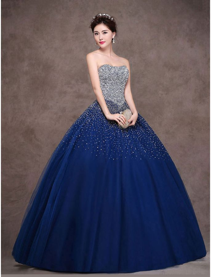 Strapless Sequin Princess Ball Gown