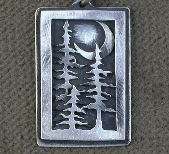 Sterling Silver, Pine Tree Handmade One of a Kind Myska Jewelry