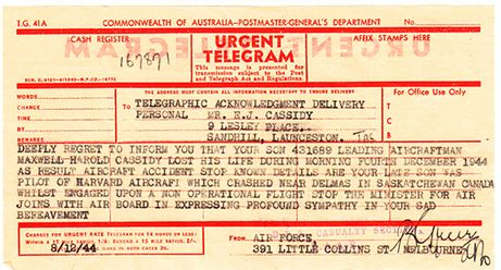 Maxwell Cassidy's parents had moved before this telegram was sent to their home in Launceston, Tasmania. Eight telegrams were sent before the terrible news reached his parents, Edwin and Mary Cassidy.