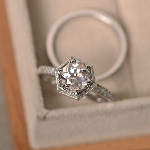 Morganite engagement ring pink morganite hexagon by LuoJewelry