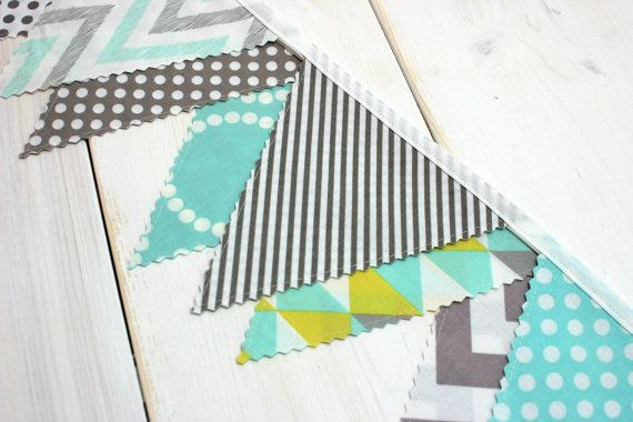 Bunting Banner, Photography Prop, Gender Neutral Nursery Decor, Unisex Baby Bunting, Mint Green, Yellow and Gray Chevron - Ready to Ship
