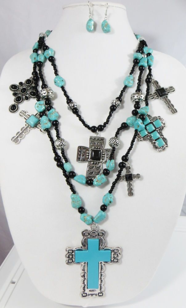 $19.99 Cowgirl Bling Gypsy Southwestern Silver CROSS charms TURQUOISE necklace set WOW #Unbranded