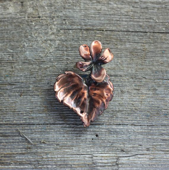 Wood Violet copper brooch by EarthlyCreature on Etsy