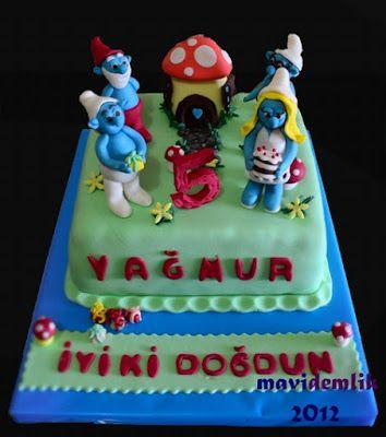 mavi demlik mutfağı- izmir butik pasta kurabiye cupcake tasarım- şeker hamurlu-kur: Yağmur'un Şirinler Pastası (  smurfs birtday cake)...