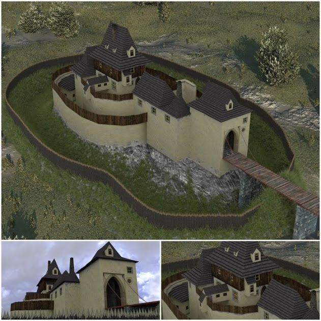 Contemporary model of the Kozí Hrádek castle.
