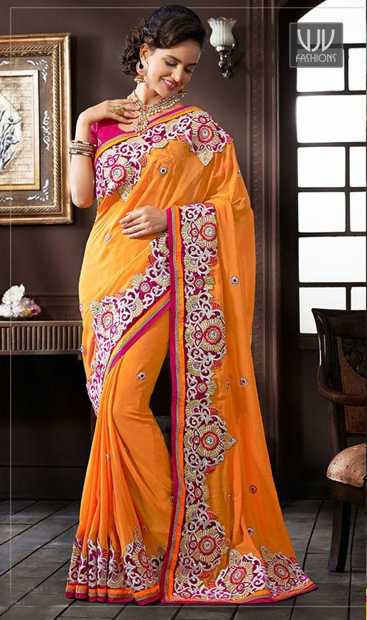 New Orange jacquard designer Wedding Lehenga Saree