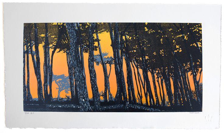 Sutro Heights - linocut print - Eric Rewitzer, U.S.A.