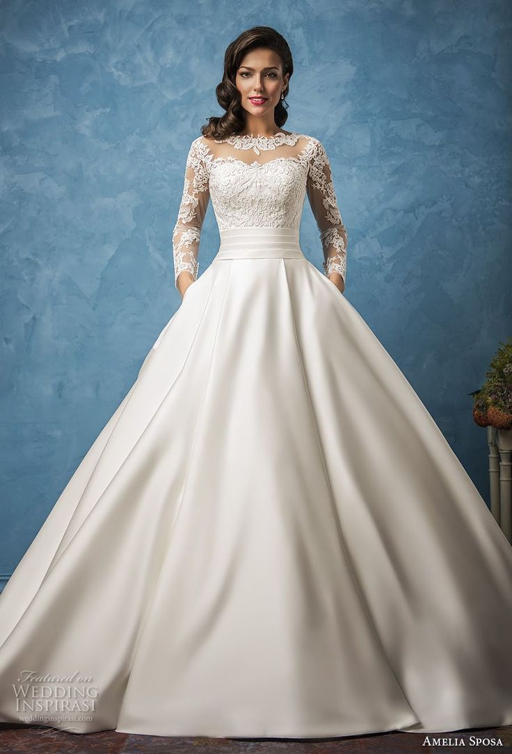 amelia sposa 2017 bridal long sleeves illusion jewel semi sweetheart neckline he…