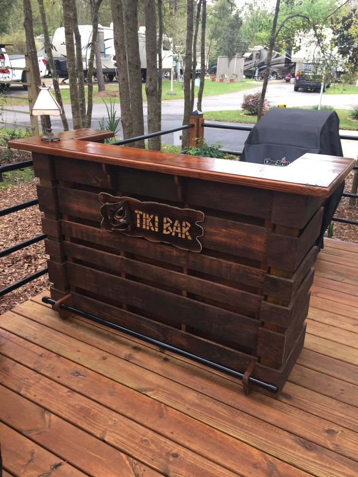 PALLET BAR, TIKI BAR, Attention To Detail, Made Like No Other, Comes With Serving Top & 2 Prep Shelves And A Black Powder Coated Steel Foot Rest, These Bars Are Sure To Please & Complement Any Area Of Your Home Or Outdoor Area. MADE FROM NEW PALLETS By A Pallet Manufacturer, Designed For The Construction Industry. 58X18X42. Or We Can Custom Build Any Size. ( We Provide You With A Up To Date Picture Build Process On Your Item To Insure Quality That You Deserve ) EXCLUDES ELECTRICAL OUTLETS…