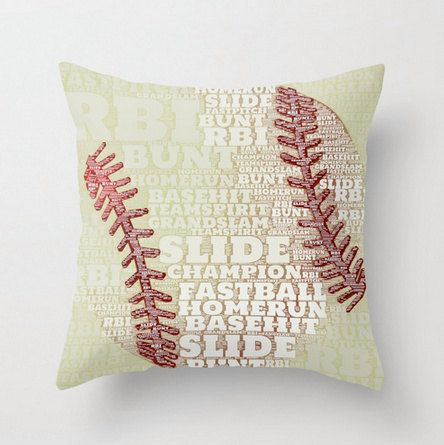 Baseball Throw Pillow Typography Kids Room Play Team Sports Red and White Americana Home Decor