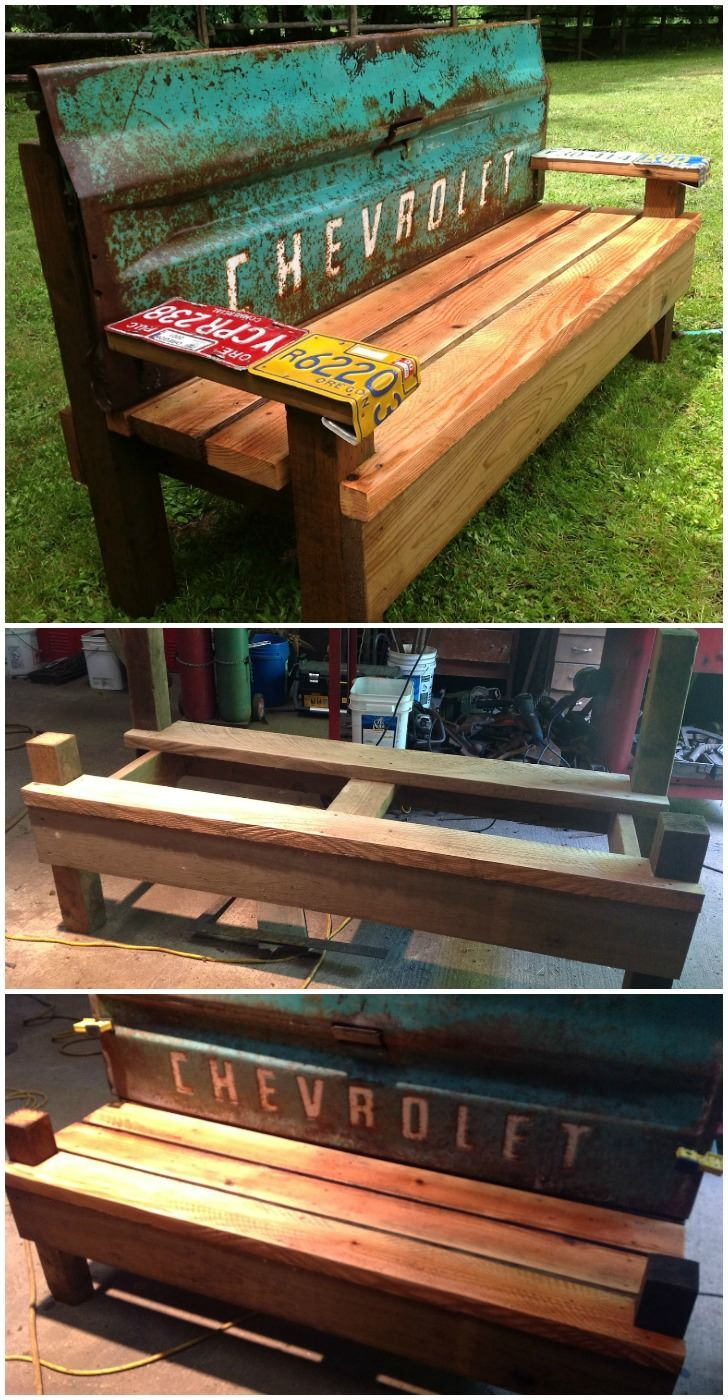Phenomenal Diy Patio Bench With An Old Car Tailgate My Crafts Diy Evergreenethics Interior Chair Design Evergreenethicsorg