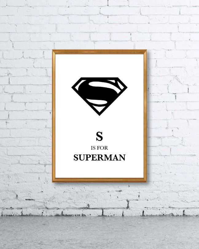S is for Superman Nursery Print - Wall Art, Home Decor, Minimalist Poster, Wall Art Print, Printable, Chic, Kids, Fashion, Typography