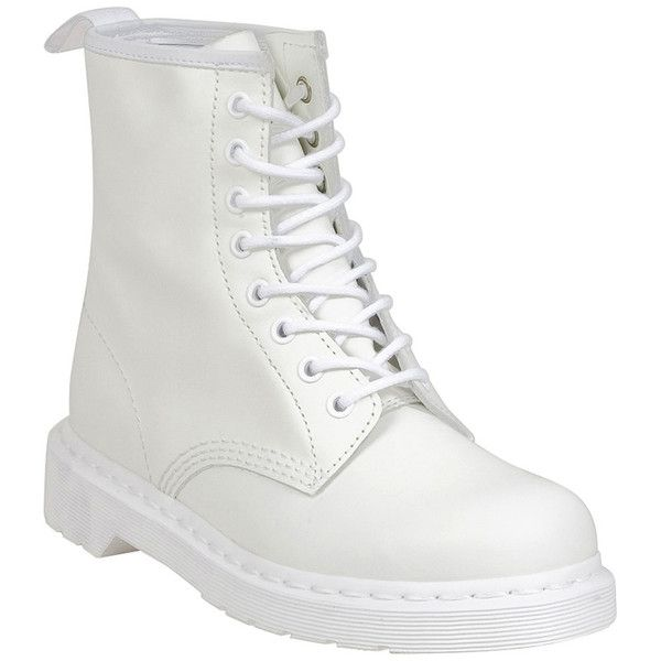Dr. Martens Women's Mono 1460 Boot ($125) ❤ liked on Polyvore featuring shoes, boots, white, laced up boots, evening shoes, lacing combat boots, white boots and army boots
