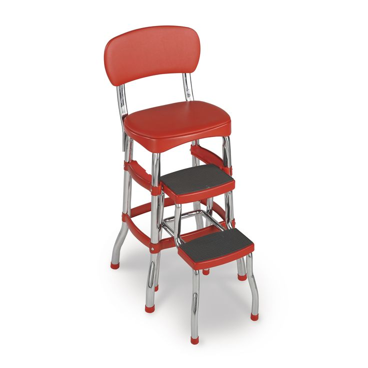 Bringe retro charm to your kitchen with this red step stool chair. Featuring two steps, this chair will help you reach the highest cabinets, and it provides a perfect spot to rest. The bold red color and steel legs bring back the look of a bygone era.