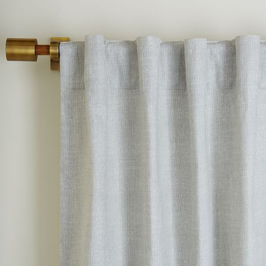 Cotton Canvas Chambray Print Curtain - Platinum | west elm