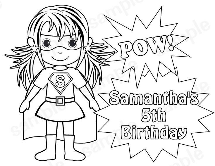 personalized printable superhero girl birthday party favor childrens kids coloring page book activity pdf or jpeg file - Superhero Coloring Pages Boys