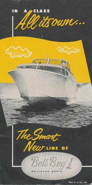 Bell Boy 21 ft express for 1958 with displacement of 3500 pounds for the inboard or 1900 pounds (hull only) for the outboard model, with a top speed of 43 MPH.