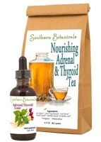 Adrenal & Thyroid Tea & Tonic Duo Adrenal/Thyroid Tonic  Ingredients (*Organic, +Wildcrafted): Ashwaganda root+, Eleuthero root*, Rose hips*, Oat top/seed*, Oat straw*, Holy Basil leaf*, Nettle root* Nettle seed* and Nettle leaf* in a base of distilled water and certified organic GMO-free alcohol.  Nourishing Adrenal & Thyroid Tea  Ingredients (*Organic, +Wildcrafted): Rose Hips*, Oat Top/Seed*, Oat Straw* Holy Basil Leaf*, Nettle Seed* & Nettle Leaf*.  Contains no sugar, GMOs or fillers.