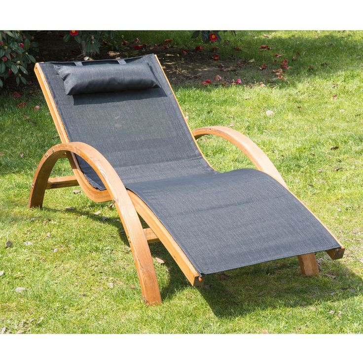outsunny outdoor recliner patio mesh lounger wooden chair with cushion black chairs u0026 lounge