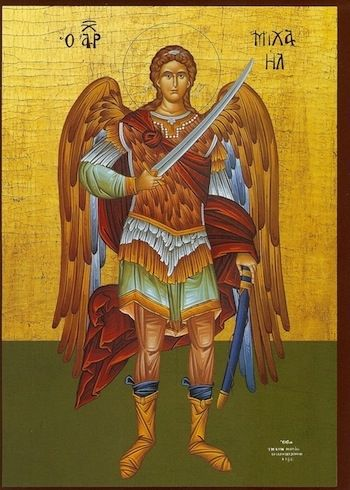 Archangel Michael Greek Orthodox Icon. The wings and sword convey so much power!