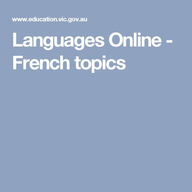 Languages Online - French topics