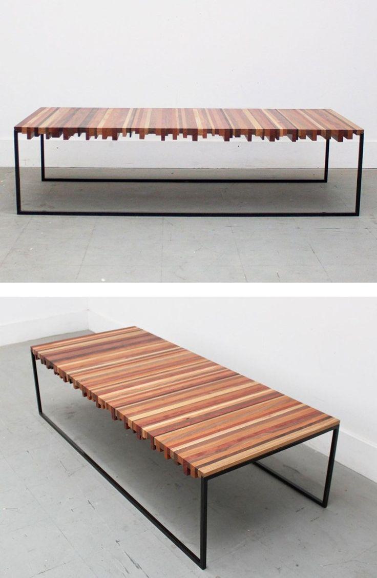 Reclaimed wood coffee table STRIPER COFFEE TABLE by Uhuru Design @uhurudesign