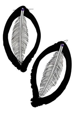 Absalom Khumalo - platinum and buffalo horn earrings
