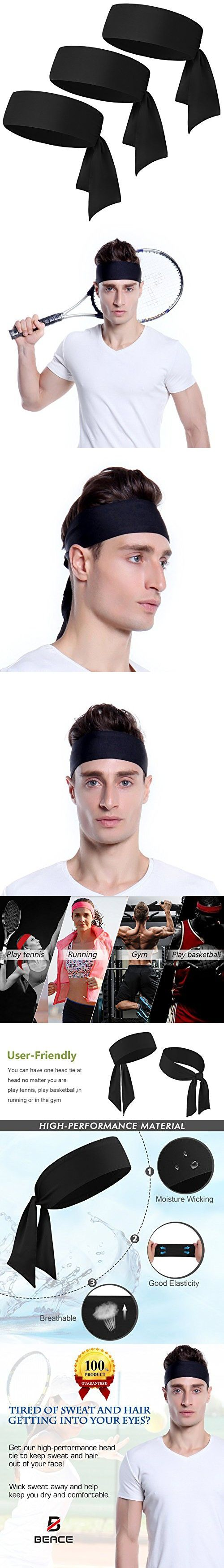 Head Tie Headband for Men & Women - 1PCS / 2PCS / 3PCS - Keep Sweat Out of Your Face - Moisture Wicking & Performance Stretch - Sports Headband for Tennis Running Gym and Working Out