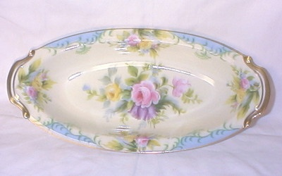 Beautiful Noritake Serving Dish Blue Cream Floral Roses w Gold Trim | eBay