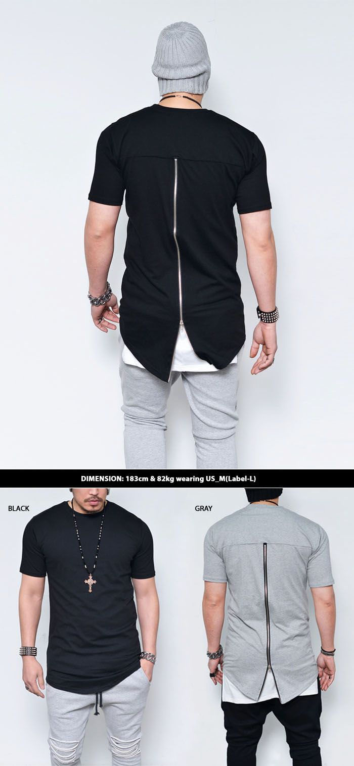 Tops :: Tees :: Vertical Zipper Back Long Round-Tee 487 - Mens Fashion Clothing For An Attractive Guy Look