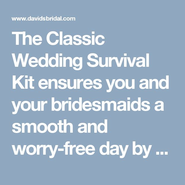"The Classic Wedding Survival Kit ensures you and your bridesmaids a smooth and worry-free day by taking care of any fashion emergencies that may arise!  Features and Facts:  Vinyl cosmetic bag.  10.2"" W x 6.7"" H x 2.1"" D.  Wipe clean.  Includes: Manicure set with nail clippers, Tweezers, Scissors, Nail file, 4 Hair ties, 8 Bobby pins, Paper clothing tape, 12 Oil-absorbing wipes, and Sewing kit."