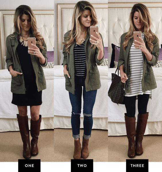 day to night outfits with a staple olive military utility jacket