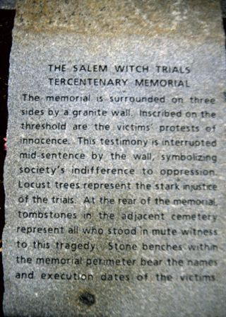 Never forget the burning times! salem witch memorial | Salem Witch Memorial plaque- This is why freedom of religion is so vital!