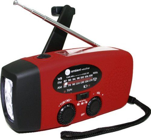 Amazon.com - Ambient Weather WR-089 Compact Emergency Solar Hand Crank AM/FM/NOAA Weather Radio, Flashlight, Smart Phone Charger with Cables... great gift idea