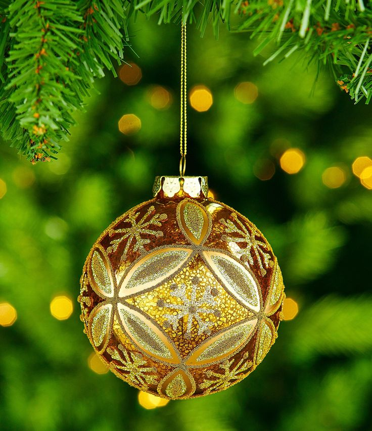 Trimsetter Crescent City Collection Floral and Snowflake Mercury Glass Ball Ornament #Dillards